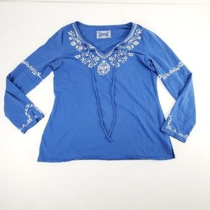 Charter Club Blue Embroidered Slit Sleeve Shirt